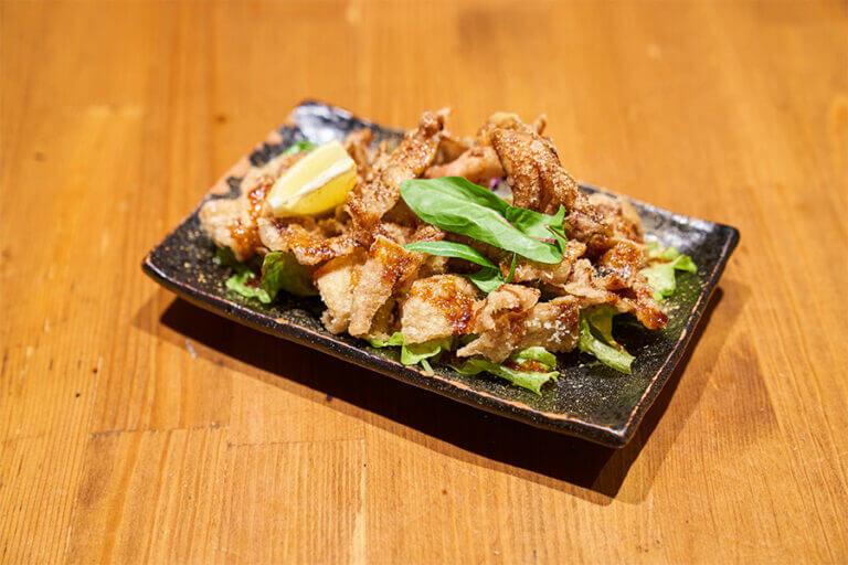 鶏皮の唐揚げ甘辛山椒(カワさん)